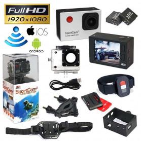 Action cam Reekin SportCam2 Wifi Full HD / Optique 140° / 12MP / écran LCD + 2 Batteries Argent
