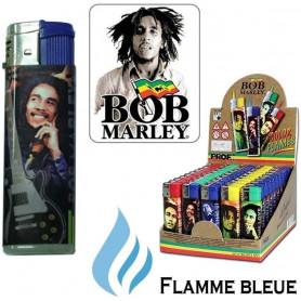 Briquet tempête Bob Marley avec flamme colorée Bleu roi