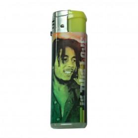 Briquet tempête Bob Marley avec flamme colorée Yellow
