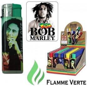 Briquet tempête Bob Marley avec flamme colorée Vert