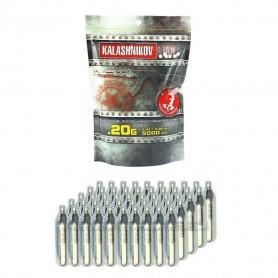 Pack de 5000 billes 0.20 g Kalashnikov et 50 sparclettes de Co2