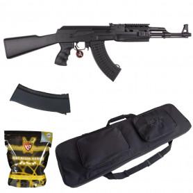 Pack Airsoft AK47 Tactical AEG + Billes + Housse de transport + 2ème chargeur