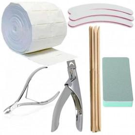 Kit outils 29 en 1 couteau pince guillotine limes buffer coton et pousse cuticule pour faux ongles