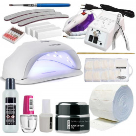 Kit manucure professionnel Black Serie XXL avec lampe UV et Ponceuse Faux ongles