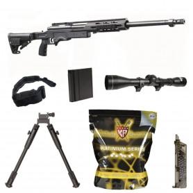 Pack Sniper Airsoft MSR SA 012 SAS 12 + Billes King Arms + Sangle + Bipied + Speedloader + Lunette de précision