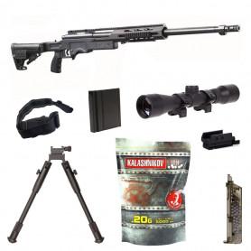 Pack Eco Airsoft avec Sniper MSR SA 012 SAS 12 + Billes Kalashnikov + Sangle + Bipied + Speedloader + Lunette de tir + Laser