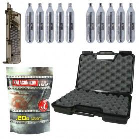 Starter Pack Premium Réplique Airsoft Gaz Housse + Sparclettes Co2 + Lunettes + Billes 0.20 g + Speedloader