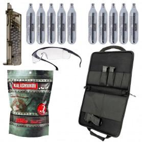 Starter Pack Premium pour Réplique Airsoft Gaz Housse + Sparclettes Co2 + Lunettes + Billes 0.25 g + Speedloader