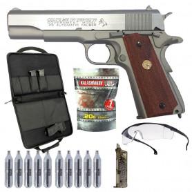 Pack Airsoft RTS Colt 1911 MKIV series 70 Co2 6mm blowback avec Gaz + Housse + Speedloader + Billes + Lunette
