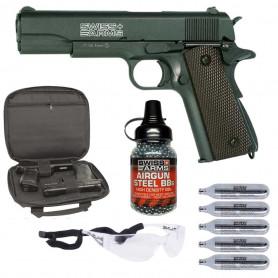 Pack Airsoft RTS Airgun Colt P1911 MATCH + Billes Métal + Housse + Lunettes + Gaz Co2