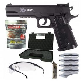 Pack Airsoft RTS Débutant Colt 1911 Match + Sparclettes Gaz Co2 + Lunette + Mallette + Speedloader + Billes