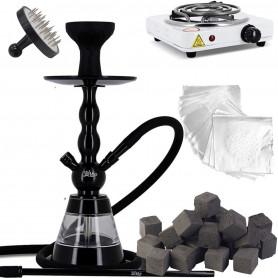 Pack Chicha Alu Economique avec Narguilé Noir + Charbon Coco 320 Cube + Chauffe Charbon + Allume Charbons + Alu + Perforateur