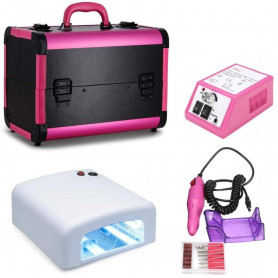 Pack Kit Ongle Gel avec Lampe UV + Valise + Ponceuse