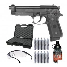 Pack Pistolet Airgun P92 Co2 BAX SA92 4.5 mm + Sparclettes + Billes Métal + Mallette + Lunette
