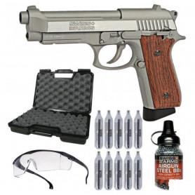 Pack Pistolet Airgun Stainless P92 Culasse Mobile + Gaz Co2 + Billes Métal + Mallette + Lunette