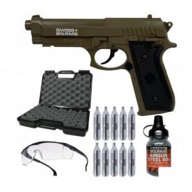 Pack Pistolet Airgun P92 TAN Co2 4.5 mm + Sparclettes + Billes Métal + Mallette + Lunette