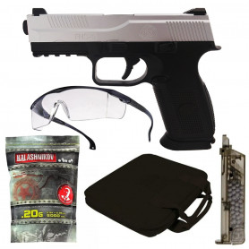 Pack Pistolet Airsoft FNS-9 + Billes + Speedloader + Lunette + Housse