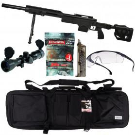 Pack Airsoft Fusil Sniper MSR SAS 10 + Bipied + Chargeur + Billes + Housse + Lunette