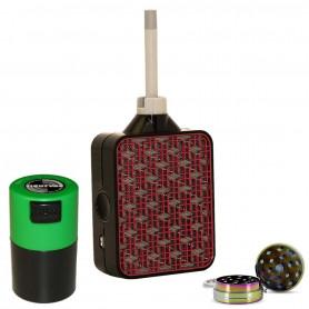 Pack Vaporisateur Portable Iolite Wispr E Noir Rouge + Tight Vac + Broyeur