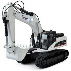 Excavateur Engin de Terrassement Full Metal 3 en 1 RC V4 1:14 2,4 GHZ Blanc