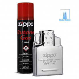 Pack Insert Double Flamme Tempête et 2 x Gaz Butane pour Briquet Zippo