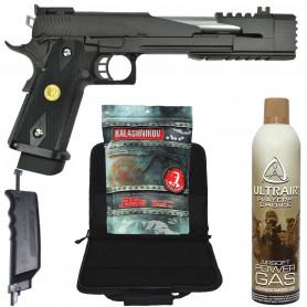 Pack Réplique Airsoft Pistolet WE Dragon Mod A Hi-Capa et accessoires
