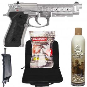 Pack Réplique Airsoft Pistolet WE M92 HEXCUT CHROME GBB et accessoires