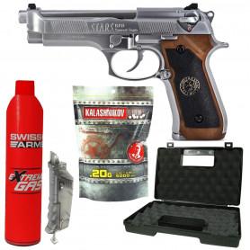 Pack Réplique Airsoft M92 VIRUS BIOHAZARD + Gaz + Billes + Mallette + SpeedLoader