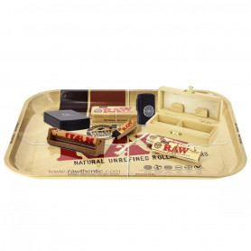 Pack RAW SpliffBox Taille S + Plateau + Balance + Feuilles Slim + Carton + Rouleuse