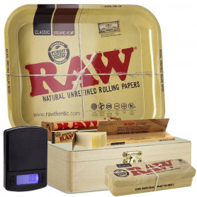 Pack RAW SpliffBox Taille XXL + Plateau + Balance + Feuilles Slim + Carton + Rouleuse