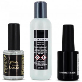 Kit Ongle Cleaner + Primer + Twin Coat Base Top pour vernis semi-permanent