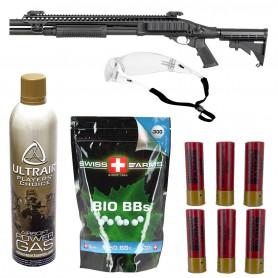 Pack Airsoft Fusil à Pompe M8874 + Gaz GBB + Billes 0.30 g + Lunette