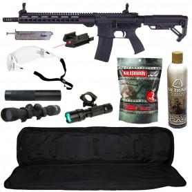 Pack Réplique Airsoft AR-15 Type M16A1 + Gaz GBB + Billes + Lunette de précision