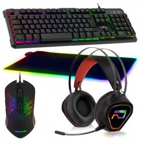 Pack Gamer Clavier Souris Tapis LED Casque RGB GTA 230 PS4, PS5, XB1 X et S, PC