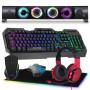 Pack Clavier Souris Gamer Casque Tapis et Barre de Son LED Pur Player GTA 250