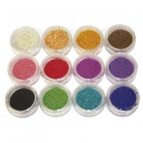 Lot de 12 pots de décorations Nail Art CAVIAR Multicolores