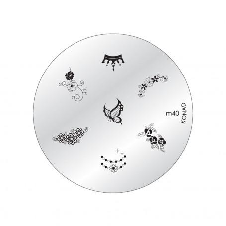 Plaque KONAD M40 - Papillons - Jardins - Fleurs x4 - Couronne Royale - Collier précieux et bijoux - Thème: Royauté