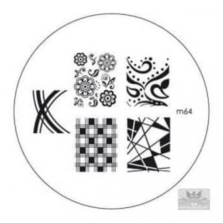 Plaque KONAD M64 Officielle pour le STAMPING NAIL ART