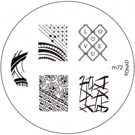 Plaque KONAD M72 Officielle pour le STAMPING NAIL ART