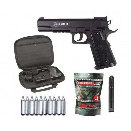 Pack Promo Réplique Airsoft Colt 1911 Match Co2 + Billes 0,25g + Housse + cartouches de gaz Co2
