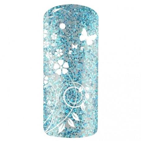 Vernis gel UV finition Bleu Givre Blue Glitter paillettes