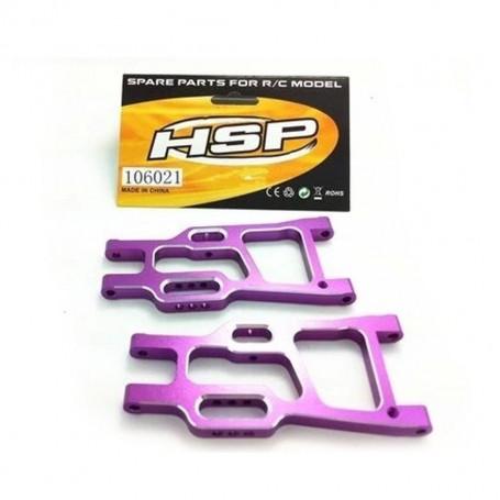 106021 / 06049 - Triangles inférieurs arrière aluminium pour voiture RC HSP, Amewi et autres