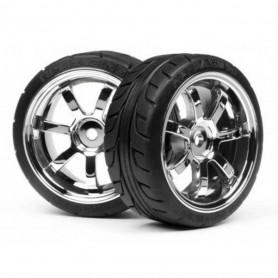 4738, Paire pneus montés piste T-grip + Jantes Rays 57S Chrome Hpi Racing pr voiture 1/10 Série RS4 Nitro 3/RS4 Sport Flux