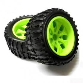 Jeu de 2 roues Pneus et Jantes Ref 08010N pour Monster Truck HSP ou Amewi