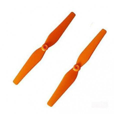 X8W-05BC - Jeu de 2 Hélices dont Horaire et Anti Horaire Oranges pour Syma X8, Jamara Payload, T2M T5166, Ultradrone X48