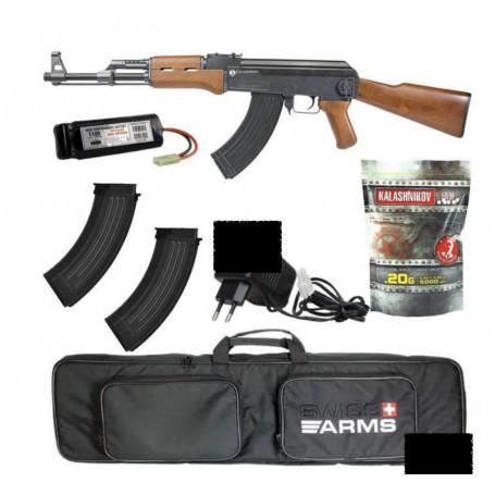 Pack AK47 Kalashnikov AEG, Fusil d'assaut à billes Ak47 Kalashnikov avec nombreux accessoires