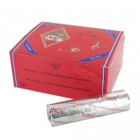 Charbon Three Kings 33mm 1 Boite complète de 10 x 10 sachets (100 charbons)