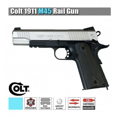 Réplique Airsoft Colt 1911 M45A1 Bicolore Rail Gun Full Metal Co2 1.1J