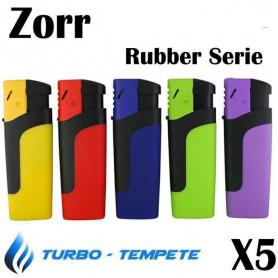 Lot de 5 Briquets Tempête électronique Turbo Zorr Rubber Serie