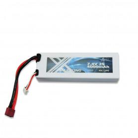 Batterie LiPo Am Racing 4000mAh 7,4V 2S 45C HardCase DEAN et JST